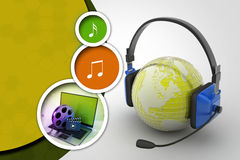 Headset with world globe. Concept for online chat Stock Photo