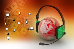 Headset with world globe. Concept for online chat Royalty Free Stock Images
