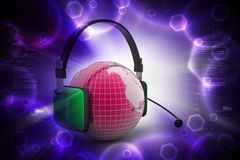Headset with world globe. Concept for online chat Royalty Free Stock Photography