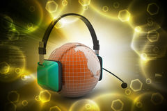 Headset with world globe. Concept for online chat Stock Photography