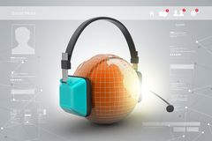 Headset with world globe. Concept for online chat Royalty Free Stock Photo