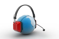 Headset with world globe. Concept for online chat Stock Images