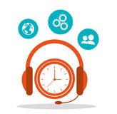 Headsetline time call center Royalty Free Stock Image