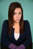 Headshot ładnej brunetki nastoletnia dziewczyna Obrazy Royalty Free