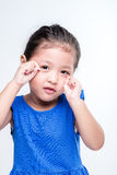 Headshot asiático triste da menina no fundo branco Imagem de Stock