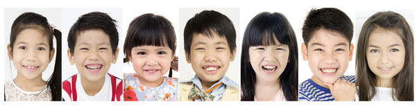 Headshot of Asian child Laughing people Royalty Free Stock Image