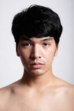 Headshot of Asian man face with no makeup Royalty Free Stock Images