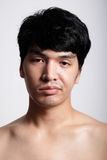 Headshot of Asian man face with no makeup Stock Image