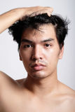Headshot of Asian man face with no makeup Stock Photos