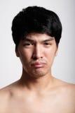 Headshot of Asian man face with no makeup Stock Photo