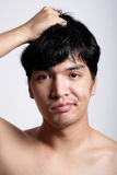 Headshot of Asian man face with no makeup Royalty Free Stock Image