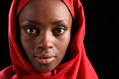 Headshot beautiful black african woman in hijab Royalty Free Stock Images