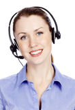 Headshot of beautiful customer service operator. Woman with headset, isolated on white background Stock Photo