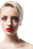 Headshot of beautiful model with red lips and blonde short hair Royalty Free Stock Photos
