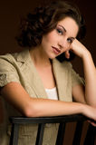 Headshot of beautiful young woman stock images