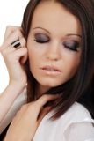 Headshot brunette woman with her eyes closed Royalty Free Stock Images