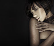 Headshot brunette woman with her eyes closed. Sensual portrait royalty free stock images