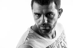 Headshot of confident looking man. In black and white Royalty Free Stock Image