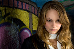Headshot da menina dos grafittis Imagens de Stock