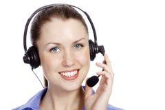 Headshot da mulher bonita do operador do serviço ao cliente Fotografia de Stock Royalty Free