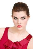 Headshot da mulher nova com batom e parte superior vermelhos Fotos de Stock Royalty Free
