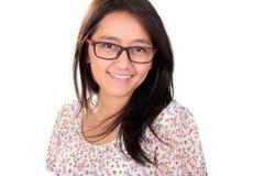 Headshot de la sonrisa de la mujer adulta aislada Imágenes de archivo libres de regalías