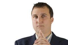 Headshot dell'uomo che pensa in cappotto del vestito fotografia stock