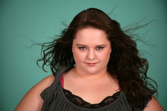 Headshot della ragazza abbastanza di peso eccessivo Fotografia Stock