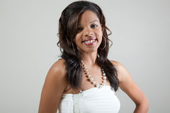 Headshot di giovane donna di colore attraente con acne Fotografia Stock Libera da Diritti