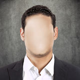 Headshot faceless man isolated on grey wall background Royalty Free Stock Images
