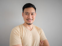 Headshot of happy Asian man. Headshot of happy face of Asian man with beard and mustache royalty free stock image