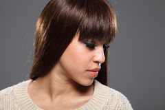 Headshot hermoso de la muchacha afrocaribeña joven Fotografía de archivo libre de regalías