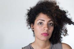 Headshot hispanic brunette model with messy makeup Stock Image