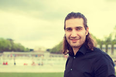 Headshot man smiling isolated outdoors Washington DC Lincoln Memorial background royalty free stock photography