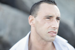 Headshot of a muscular man Royalty Free Stock Photos
