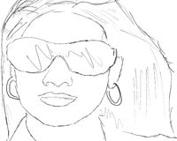 headshot nakreślenia kobieta Obraz Stock