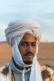 Headshot of a Nomad in the Sahara Desert Royalty Free Stock Photos
