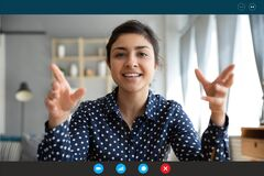 Free Headshot Portrait Of Smiling Indian Woman Talk On Video Call Stock Image - 177549431