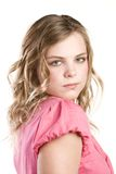 Headshot portrait of teenage girl in pink blouse Stock Images