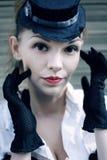 Headshot retro model z dużymi oczami Obraz Royalty Free