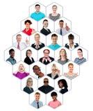 Headshot samling av den multiracial grupp människor Arkivbild