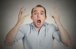 Headshot shocked stunned surprised young man Royalty Free Stock Photo