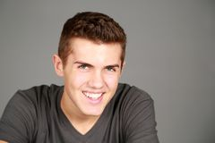 Headshot of smiling older teen boy Stock Photos