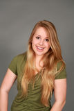 Headshot of smiling teen girl with braces Royalty Free Stock Images