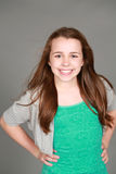 Headshot of smiling tween girl Stock Image