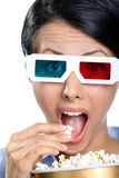 Headshot of the spectator in 3D glasses Royalty Free Stock Images
