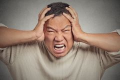Headshot stressed guy screaming Royalty Free Stock Photo