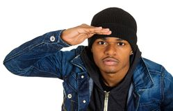 Headshot trendy handsome young man, rapper, model royalty free stock photos