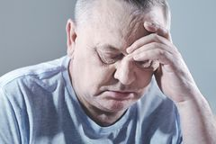 Headshot triste d'homme Images libres de droits
