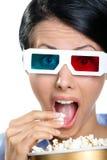Headshot van de toeschouwer in 3D glazen Royalty-vrije Stock Afbeeldingen